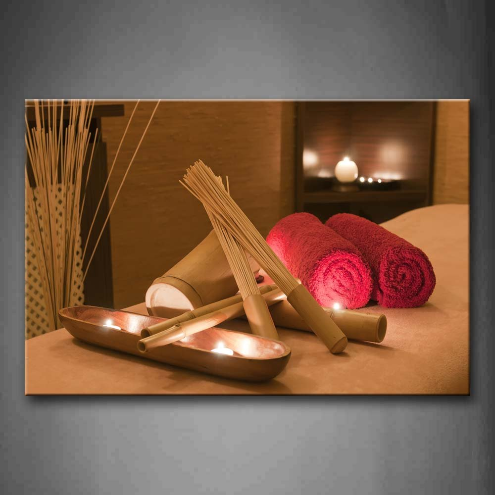 First Wall Art - Brown Red Towels And Spa Tools On The Bed Wall Art Painting The Picture Print On Canvas Art Pictures For Home Decor Decoration Gift