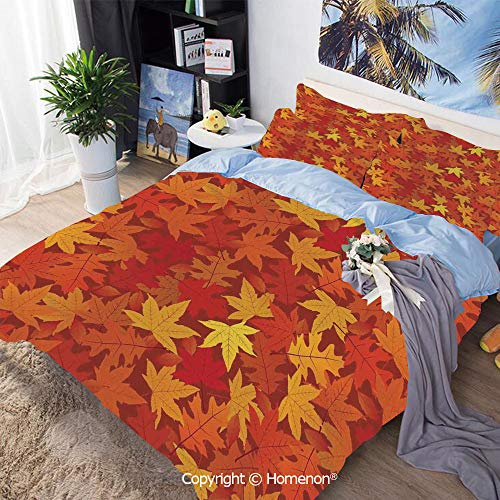 Bedding Sheets Set 3-Piece Bed Set,Multi Colored Autumn Fall Maple Leaves in Unusual Designs Nature Theme Artprint Decorative,King Size,Include 1 Quilt Cover+2 Pillow case,Burnt - Size Bed Maple Bunk Twin