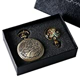 YISUYA Vintage Bronze Doctor Who Retro Dr Who Pocket Watch with Chain Mens Boys Necklace Pendant Gift Box Bild