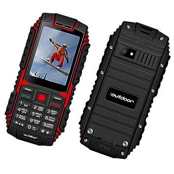 Premewish Téléphone Portable Mobile Senior Grosses Touches Antichoc et  Antipoussière Étanche IP68 (Noir + Rouge e92d9bb985a