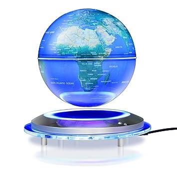 Amazon magnetic floating globe 6 levitation rotating ball magnetic floating globe 6 levitation rotating ball led illuminated world map earth for gumiabroncs Images