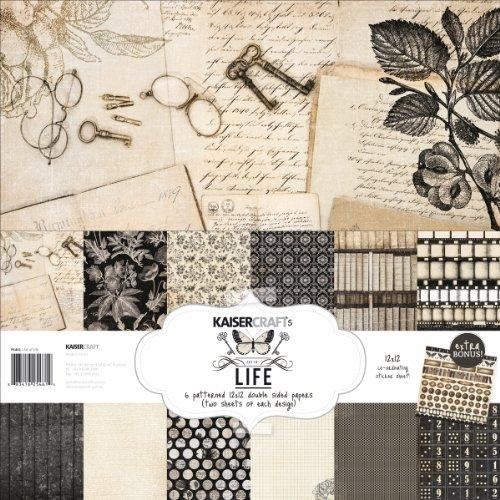 Kaisercraft PK461 Paper Pack Bonus Sticker Sheet, 12 by 12-Inch, Art of Life, 12-Pack