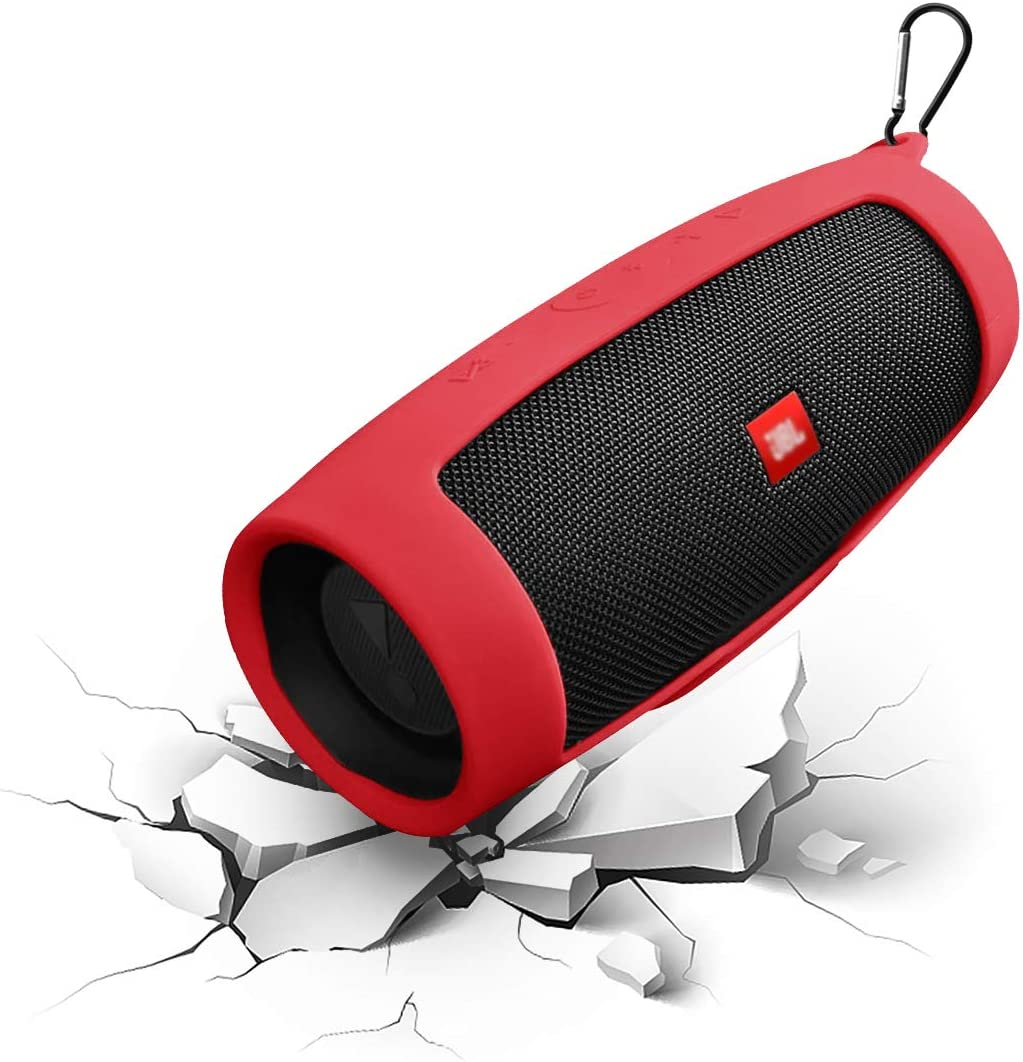 JBL Charge4 Silicone Case Cover with Keychain Geekria Silicone Case for JBL Charge 4 Waterproof Portable Wireless Bluetooth Speaker Red Protective Case Wearable Lightweight