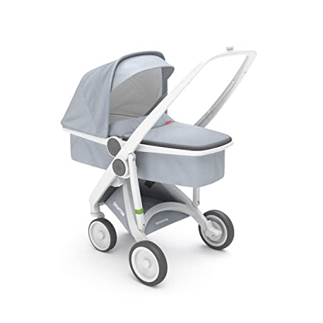 Cochecito UPP Carrycot Chassis color blanco + Kit portabebés gris greentom