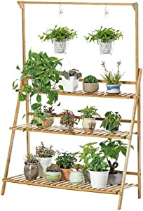 GUOXY Flower Stand 3 Tier Flower Pots Hanging Rack Outdoor Garden Shelves Plant Display Stand Plant Ladder Bamboo Plant Stand for Indoor Outdoor Garden Balcony,a,100X40X96Cm