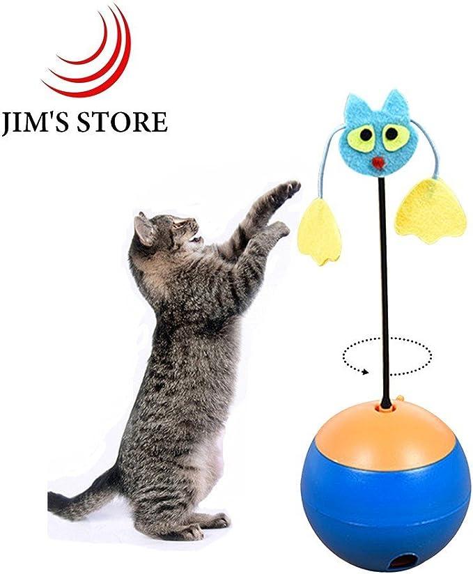 Gato con juguete, Jim de almacenar eléctrico interactivo gato juguetes alimentos fuga bolas con luz LED puntero gatito Jugar Juguete: Amazon.es: Productos para mascotas