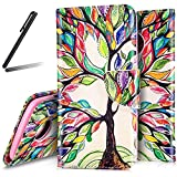 Motorola Moto G5 Wallet Case,Moto G5 Stand Case Girl,SKYMARS Buttterfly Flower PU Leather Fold Wallet Pouch Case Wallet Flip Stand Credit Card ID Holders Protective Case Cover for Motorola Moto G5 (2017) Paiting tree