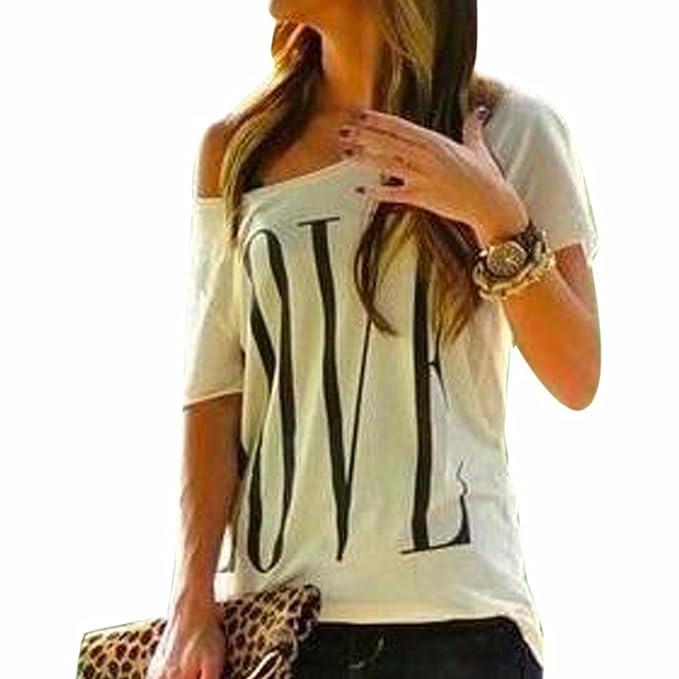 de manga corta cuello redondo mujeres de la moda de la blusa camiseta de algodon
