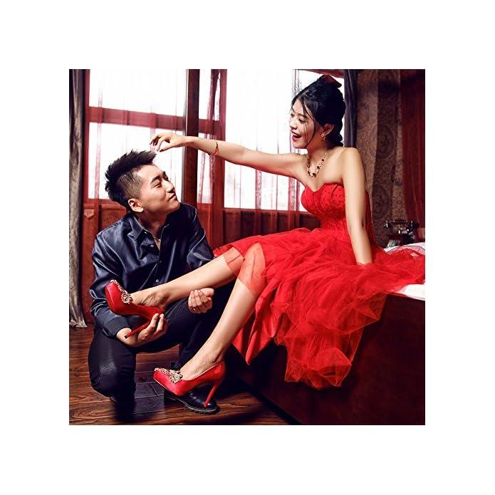 Dididd Le Scarpe Da Sposa Cinesi Rosse Ricamate Si Vestono Bene Femmina Con Diamante Singolo Di Cristallo Impermeabile A Punta Tacchi Alti rosso 36