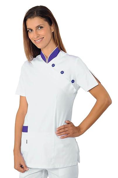Isacco-túnica médica Saigon, Color Morado, 100% algodón, Color Blanco Blanco
