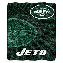 NFL New York Jets Strobe Sherpa Throw, 50 x 60-Inch, Green