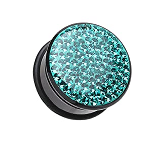Teal Brilliant Sparkles Black Body Single Flared Plugs - Sold as Pairs (5/8