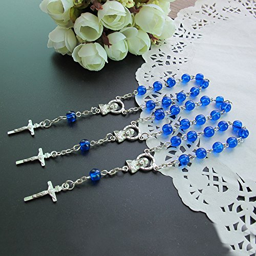 First Communion Rosary Beads (24 Pcs Blue Glass Mini Rosary Favor for Baptism / Christening / First Communion / Quinceanera / Wedding / Recuerdos de Bautizo)