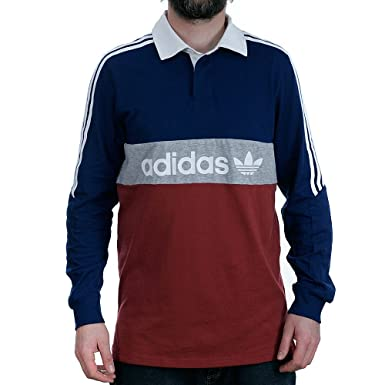 87015dea193 adidas Skateboarding Rugby Nautical Mystery Red Blue Grey Rugby Shirt:  Amazon.co.uk: Clothing