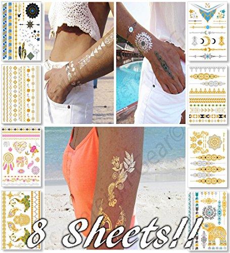 Metallic Temporary Tattoos for Women Teens Girls - 8 Sheets Gold Silver Temporary Tattoos Glitter Tattoo Designs Jewelry Tattoos - 100+ Color Flash Fake Waterproof Tattoo Stickers (Hippie Tattoo Designs)