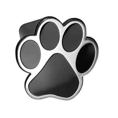 "LFPartS Dog Animal Paw Foot Emblem Metal Trailer Hitch Cover (Fit 2"" Receivers, Chrome & Black): Automotive"