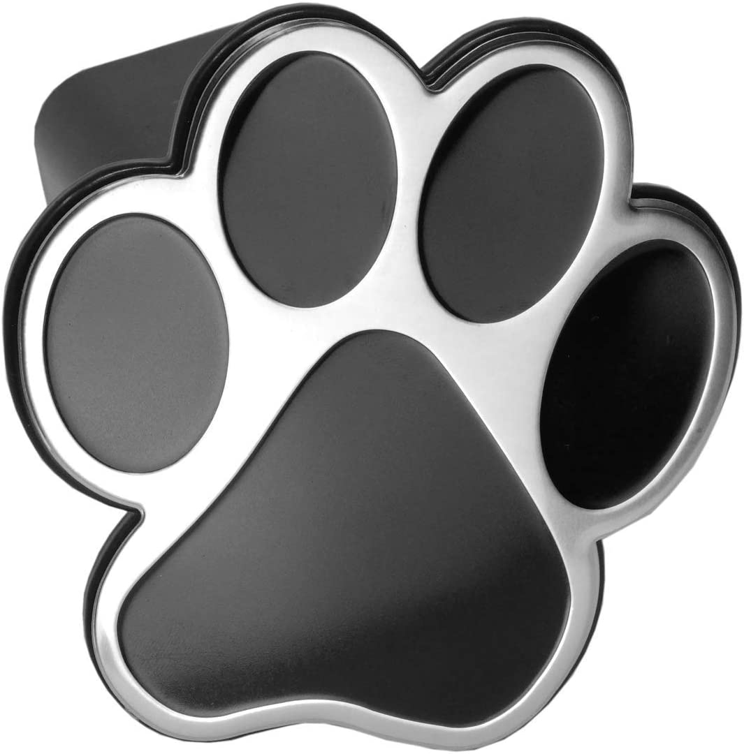 Chrome on Black LFPartS Bear Dog Animal Paw Foot 3D Emblem Trailer Hitch Cover Fits 2 Receivers