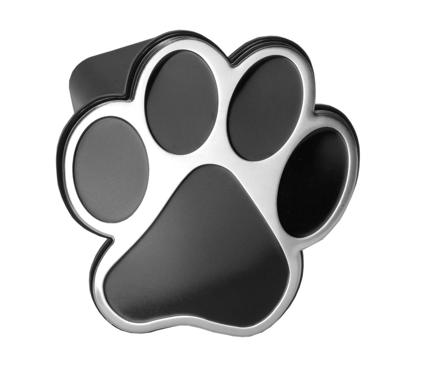 LFPartS Dog Animal Paw Foot Emblem Metal Trailer Hitch Cover (Fit 2'' Receivers, Chrome & Black) by LFPartS