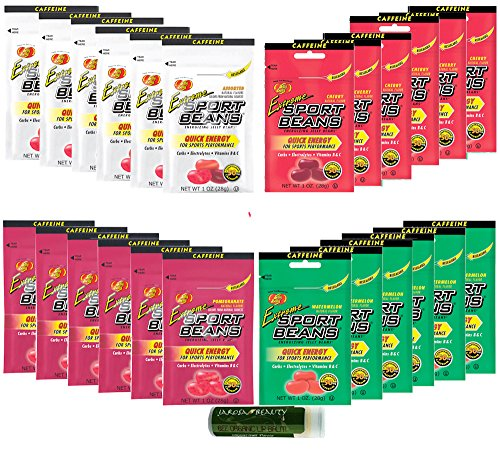Jelly Belly Variety Pack 1oz - Watermelon, Assorted Flavors, Pomegranate & Cherry - 24 Pack (6 Packs of Each Flavor) with a Jarosa Bee Organic Peppermint Lip Balm by Jarosa Gifts ()