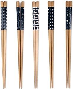 5 Pairs Premium Reusable Chopsticks Set - Lightweight Easy to Use Chop Sticks Utensils for Asian Food. Wooden Chinese Japanese Korean Chopsticks, Family Use Gift Set (Blue 5 Pairs)