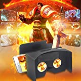 Bfun 3D Virtual Reality Google Cardboard 2.0V with Head Strap 3D Glasses DIY Kit Compatible with Android Apple Smartphone 3.5-6inch Black