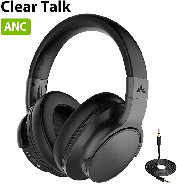 Avantree ANC031 Active Noise Cancelling Headphones Over Ear with Microphone for Home Office