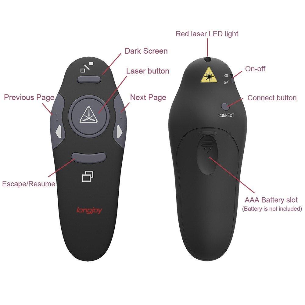 Wireless Presenter Longjoy RF 2.4GHz Laser Presenter Remote Presentation Laser Pointer USB Control PowerPoint PPT Clicker by Longjoy (Image #2)