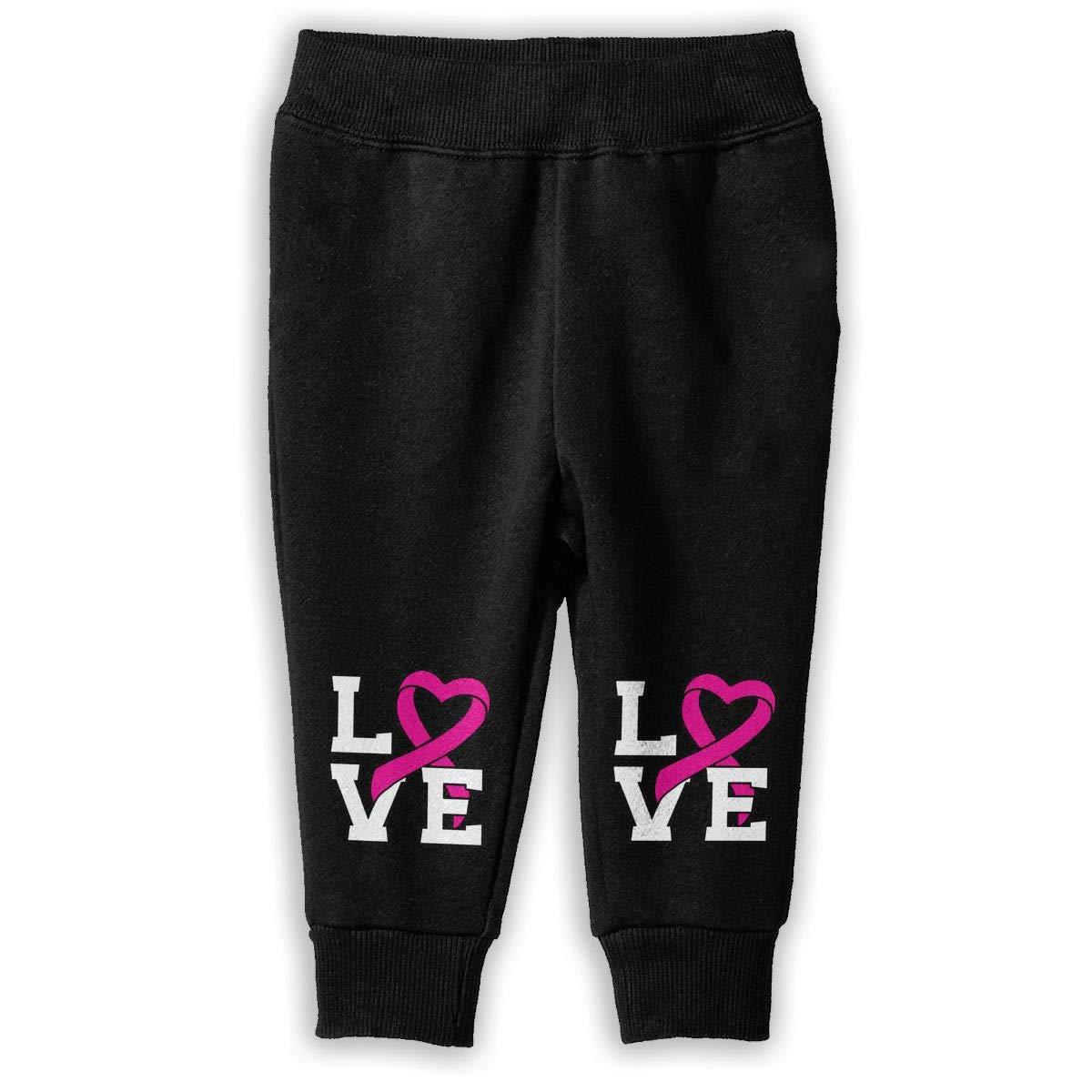 Love Pink Ribbon Breast Cancer Awareness Sweatpants Kids Sports Pants