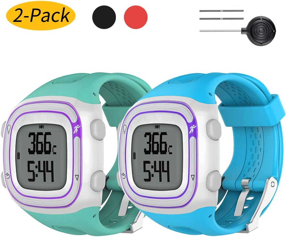 Watbro 腕時計ベルト Garmin Forerunner 10/15 ランニングウォッチに対応 ソフトシリコン交換用リストバンド Garmin Forerunner 10/15 スマートウォッチ レディース メンズ Teal+青 S-Display Size: 0.81\