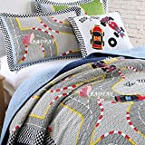 FADFAY Designer Runway Kids Comforter Sets Boys Quilted Bedding Set Soft Bed Sheet Summer Quilted Throws Grey 3PCS