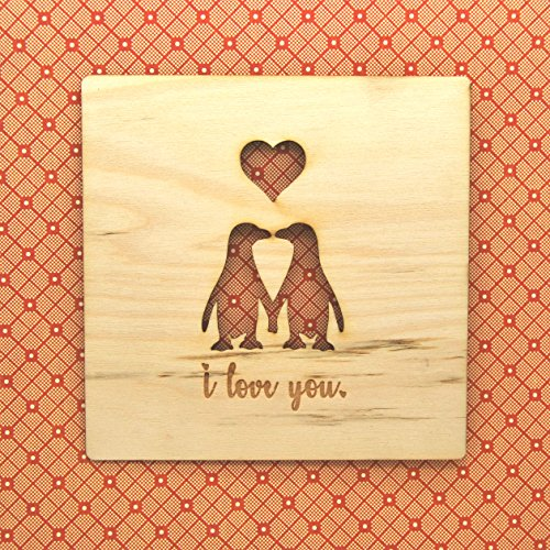 Penguin Lovers – Wood Card – Unique Gift/Valentines/Anniversary/Love
