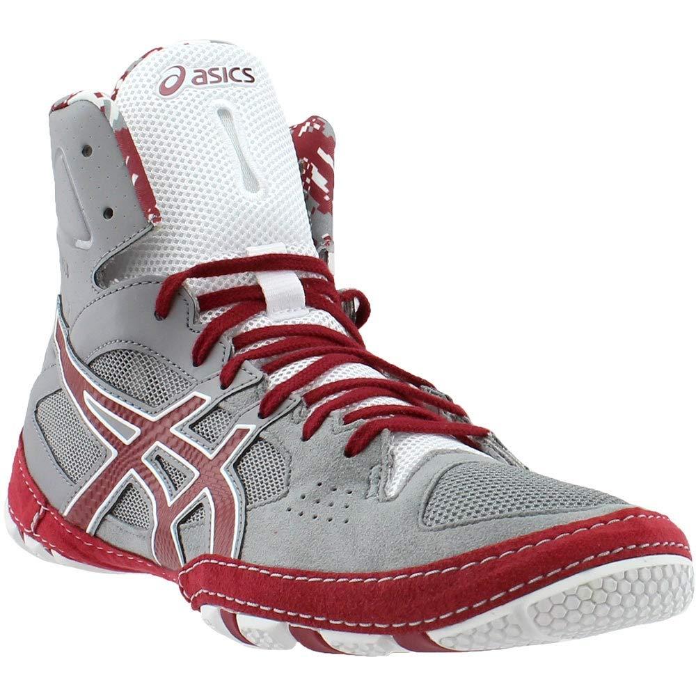 ASICS Mens Cael V7.0 Wrestling Shoe, Aluminum/Burgundy/White, 11.5 Medium US by ASICS