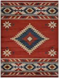 Nevita Collection Southwestern Native American Design Area Rug Southwest Design Rugs Geometric South West Pattern (Orange (Terra) , 2 x 4)