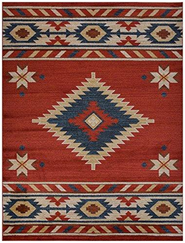 - Nevita Collection Southwestern Native American Design Area Rug Southwest Design Rugs Geometric South West Pattern (Orange (Terra) , 2 x 4)