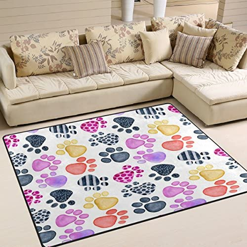 ALAZA Watercolor Dog Paw Print Area Rug Rugs for Living Room Bedroom 7 x 5