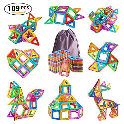 JohnCalbe 109pcs Big Size Magnetic Designer Blocks Plastic Building & Construction Toys Magnetic Tiles Set Educational Toys for Children by JohnCalbe (Image #1)