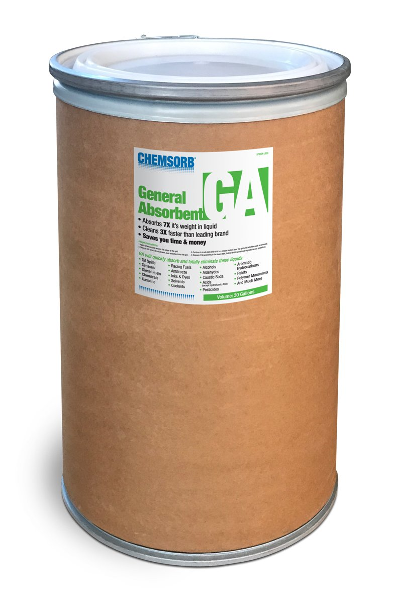 Chemsorb Ga - General Absorbent - 30 gal. Drum, SP30GA-L30D, Universal Absorbent, Light Weight Spill Response. Silica Free, Absorb: Oil, Grease, Chemicals, Pesticides, Solvents, Diesel Fuel