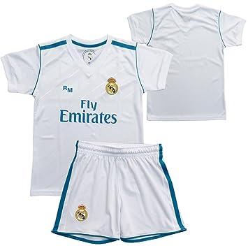 Conjunto - Kit 1ª Equipación Replica Oficial REAL MADRID 2017-2018 Sin Dorsal LISO - Tallaje NIÑO: Amazon.es: Deportes y aire libre