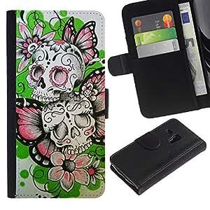A-type (Las flores de mariposa de primavera cráneo del motorista) Colorida Impresión Funda Cuero Monedero Caja Bolsa Cubierta Caja Piel Card Slots Para Samsung Galaxy S3 MINI 8190 (NOT S3)