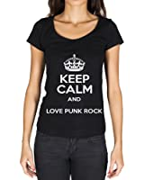 Keep Calm and Love Punk Rock T-shirt Femme - Noir, t shirt femme,cadeau