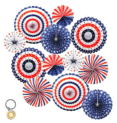 Memorial Day Bulletin Boards (Mandala Crafts Hanging Circle Paper Fan Set for Party, Event, Birthday, Wedding, Tree, Wall, Backdrop Decoration (12, Red White Blue American Flag)