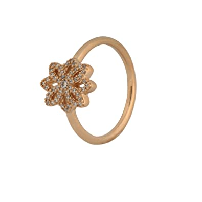 13090a37e Pandora Lace Botanique Ring, Clear CZ and 14K Gold 150182CZ-50 E.U, 5