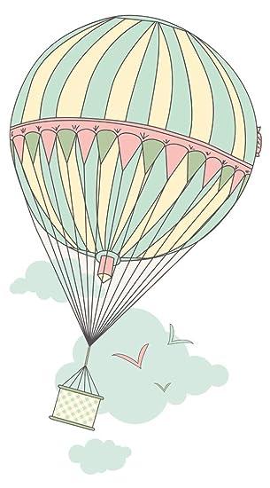 Wandtattoo Kinderzimmer Heissluftballon Im Himmel Mit Vogeln
