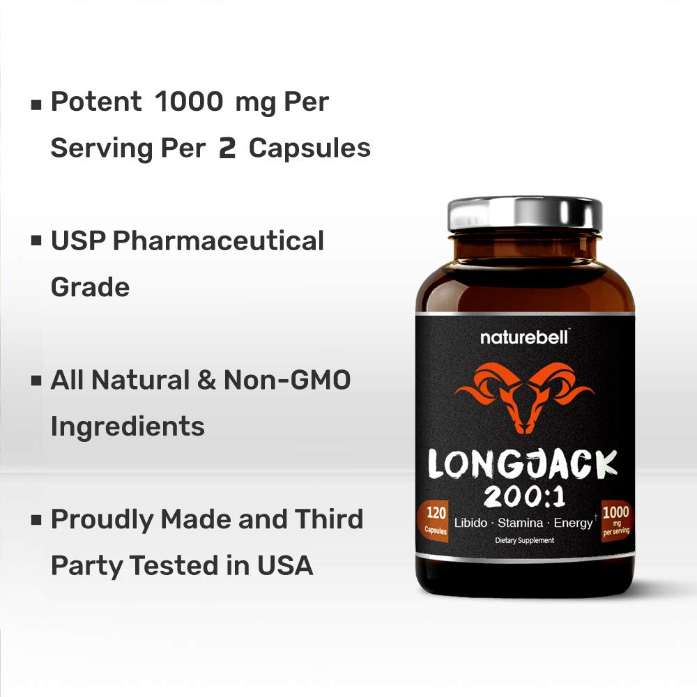 Maximum Strength Long Jack 200: 1 Extract (Tongkat Ali), 1000Mgper Serving, 120 Capsules, Supports Libido, Energy, Stamina & Immune System for Men & Women, no Gmos by NATUREBELL