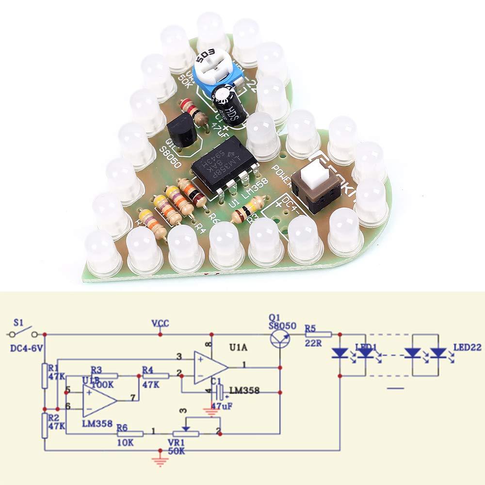 IS Icstation Heart Shape LED Flashing Lights Kit Electronics Soldering Practice Set (Red)
