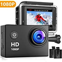 Oaixmn 16MP 1080P Underwater Action Camera with 2 Piece Rechargeable Batteries and Mounting Accessories Kits