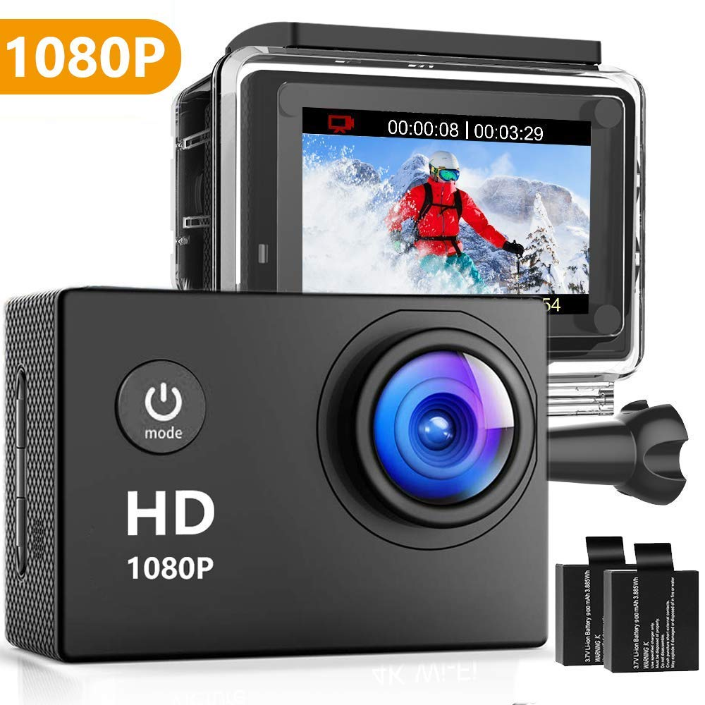 Oaixmn Action Camera 16MP 1080P Underwater Photography Cameras 140 Degree Ultra Wide Angle Lens with 2 Pcs Rechargeable Batteries and Mounting Accessories Kits - Black04 by Oaixmn