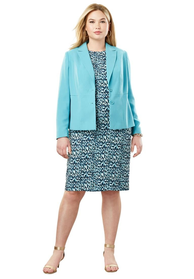 Jessica London Women's Plus Size Single Breasted Jacket Dress Dusty Aqua Shadow