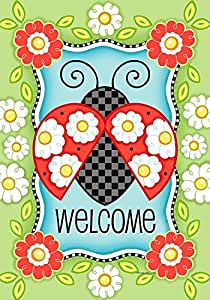 "Ladybug Welcome Spring Garden Flag Daisies Floral 12.5"" x 18"" Briarwood Lane"