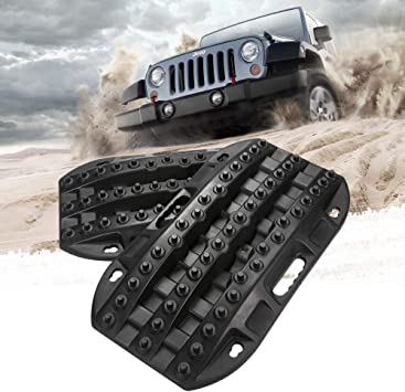 Sand BUNKER INDUST Traction Tracks Mat 2 Pcs Traction Boards Recovery Tool for Off-Road 4X4 Mud Snow-Blue Track Tire Ladder
